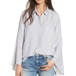 BP Blue Stripe Bell Sleeve Button Down Shirt